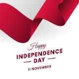 Dia da Independência do Polônia 11 de novembro Bandeira de ondulação Ilustração do vetor ilustração royalty free