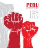 Dia da Independência do ` s do Peru 28 de julho Feriado patriótico nacional da libertação na América Latina Punho humano apertado ilustração do vetor