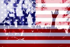 Dia da Independência, fogos-de-artifício, multidão e bandeira de América Foto de Stock Royalty Free