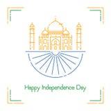 Dia da Independência indiano com cores da roda de Ashoka e da bandeira nacional Fotos de Stock Royalty Free