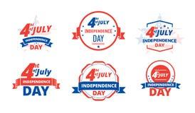 Dia da Independência 4ns julho, EUA Estados Unidos da América do Dia da Independência do logotipo, o 4 de julho Foto de Stock Royalty Free