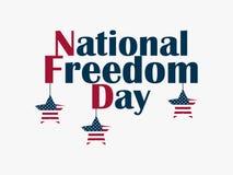 Dia da liberdade nacional, o 1º de fevereiro Estrelas de suspensão com a bandeira dos E.U. Bandeira comemorativo Abolição da escr Imagem de Stock Royalty Free