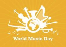 Dia da música do mundo com vetor dos instrumentos musicais ilustração royalty free