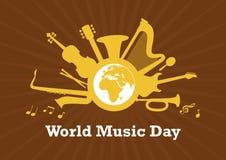 Dia da música do mundo com vetor dos instrumentos musicais ilustração do vetor