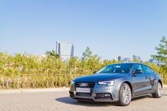 Dia da movimentação do teste de Audi A5 2015 Foto de Stock