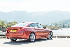 Dia da movimentação do teste do Gran Coupe 2018 de BMW 420i fotografia de stock