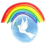 Dia da paz Pombo branco, céu da aquarela Imagem de Stock