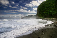Dia da praia preta da areia Fotos de Stock Royalty Free