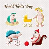 Dia da tartaruga do mundo Ilustração para o feriado Família engraçada Aperfeiçoe para o cartão do projeto, convites, promoções Fotografia de Stock