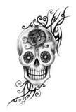 Dia da tatuagem do crânio da arte dos mortos Imagens de Stock Royalty Free