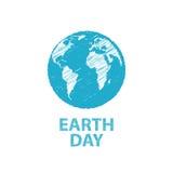 Dia da Terra em cores azuis Ilustração do vetor Desenho de lápis ef Foto de Stock