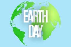 Dia da Terra feliz 22 de abril Planeta verde abstrato no fundo azul Texto das letras de papel Mapa da terra do planeta ecological ilustração royalty free