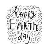 Dia da Terra feliz Frase escrita à mão conceptual Cartaz tirado mão da tipografia Projeto caligráfico indicado por letras da mão  ilustração do vetor