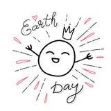 Dia da Terra feliz Frase escrita à mão conceptual Cartaz tirado mão da tipografia Projeto caligráfico indicado por letras da mão  ilustração stock