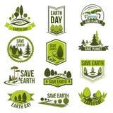 Dia da Terra, grupo do crachá do eco do planeta das economias Fotografia de Stock Royalty Free