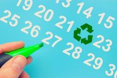 Dia da Terra marcado no calendário imagens de stock royalty free