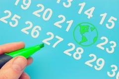 Dia da Terra marcado no calendário fotos de stock