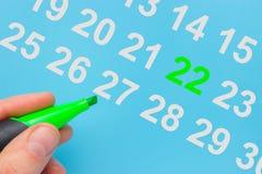 Dia da Terra marcado no calendário imagem de stock royalty free