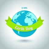 Dia da Terra no azul Ilustração do vetor Imagens de Stock Royalty Free