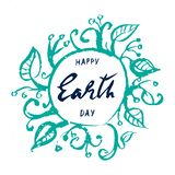 Dia da Terra, rotulação tirada mão no fundo branco ilustração do vetor