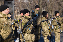 Dia da unificação de Ucrânia Cidade Dnipro Imagem de Stock Royalty Free