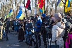 Dia da unificação de Ucrânia Cidade Dnipro Imagens de Stock Royalty Free