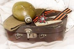 Dia da vitória George Ribbon, ordem da estrela vermelha, fotos velhas, f Foto de Stock Royalty Free