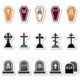 Dia das Bruxas, ícones do cemitério ajustou - o caixão, cruz, sepultura Imagem de Stock Royalty Free