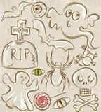 Dia das Bruxas ajustou-se com fantasma, túmulo, bastão e aranha Imagem de Stock