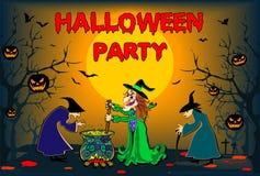 Dia das Bruxas com bruxas, cartaz, ilustração colorida, cartão, arquivo editável Fotos de Stock Royalty Free