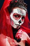 Dia das Bruxas compõe o crânio do açúcar Fotografia de Stock