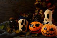 Dia das Bruxas decorou abóboras no fundo rústico escuro, termas da cópia foto de stock royalty free