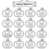 Dia das Bruxas feliz - abóbora lisa da etiqueta ilustração royalty free