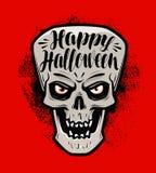 Dia das Bruxas feliz, cartão Crânio assustador ou monstro Ilustração do vetor da rotulação ilustração royalty free
