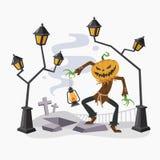 Dia das Bruxas feliz com cabeça da abóbora, ilustração do vetor Fotos de Stock Royalty Free