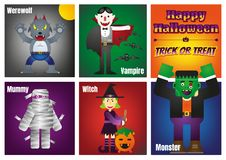 Dia das Bruxas feliz com caráteres coloridos de Dia das Bruxas ilustração do vetor