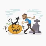 Dia das Bruxas feliz com zombi e o gato preto, ilustração do vetor Imagens de Stock Royalty Free