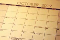 Dia das Bruxas feriado o 31 de outubro no foco seletivo 2019 imagens de stock royalty free