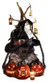 Dia das Bruxas, gato-demônio Imagens de Stock