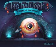 Dia das Bruxas - noite dos mortos com olho perfurado ilustração royalty free