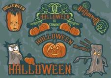 Dia das Bruxas Owl Labels Imagem de Stock