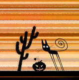 Dia das Bruxas Silhoette Cat Pumpkin Head Cactus Foto de Stock Royalty Free