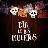 Dia de Лос Muertos, день карточки умерших или хеллоуина, приглашения Party украшение, строка светов, handmade отрезок Стоковые Изображения RF