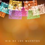 Dia de Лос Muertos, день карточки умерших или хеллоуина, приглашения Party украшение, строка светов, handmade отрезок Стоковые Фото