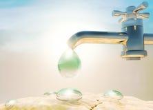 Dia de ambiente de mundo Seca, calor Gotejamento da gota da água fora de Imagem de Stock Royalty Free