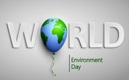 Dia de ambiente de mundo com o balão do mundo da terra do planeta Vector a ilustração para a ecologia, ambiente, tecnologia verde ilustração royalty free