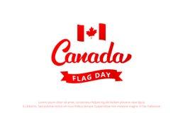 Dia de bandeira de Canadá Bandeira com rotulação de Canadá e de nacional Fotos de Stock