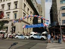 Dia de Bastille na 60th rua, alta segurança de NYPD, NYC, NY, EUA Foto de Stock Royalty Free