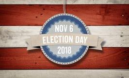 Dia de eleição 2018, fundo do conceito da bandeira americana dos E.U. Foto de Stock