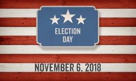 Dia de eleição 2018, fundo do conceito da bandeira americana dos E.U. Ilustração Royalty Free
